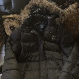 American Eagle Long Puffer Coat with Fur Trim Hood